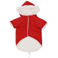 Pet red plus fleece hooded soft warm double pocket cotton vest