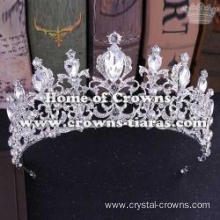 Alloy Crystal Wedding Queen Crowns In Gold Color