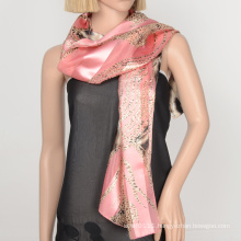 100 polyester scarf satin gauze lady scarf with custome design