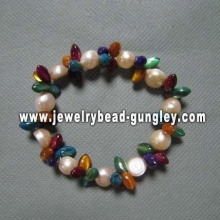 Pérola de água doce com pulseira de mulheres de concha multicolor