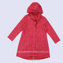 High Quality Long Red PVC Men Raincoat