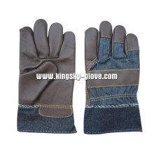Trabalho de couro de mobília de palma cheia de cor escura luva-4028