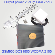 Tri Band Signal Booster Signal Repeater for GSM900 Dcs 1800 3G 2100MHz