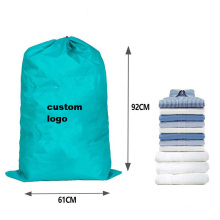 Commercial folding oversize durable reusable heavy duty polyester nylon dirty hotel drawstring laundry bag