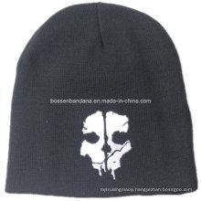 OEM Produce Skull Printed Black Men′s Sports Snowboard Acrylic Knit Customized Wool Beanie