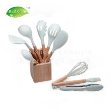 10 Pieces Wooden Handles Silicone Cooking Tools