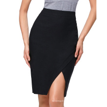 Kate Kasin Women's High Waist High Stretchy Irregular Hem Hips-Wrapped Short Black Skirt KK000287-1