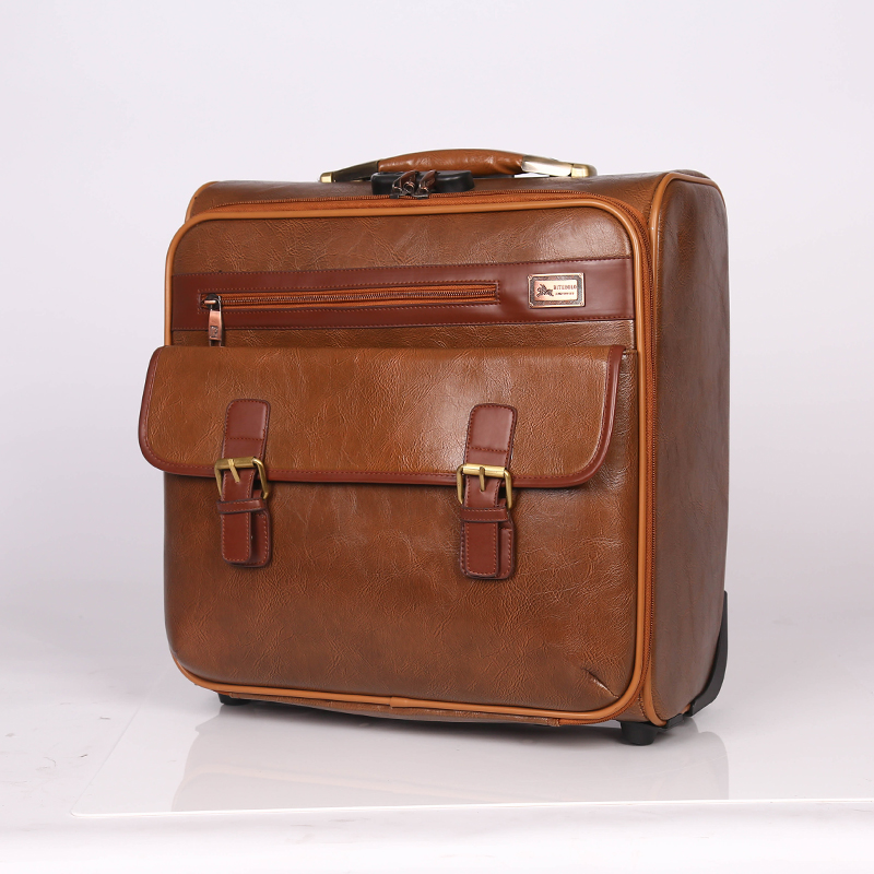 carry on PU leather luggage