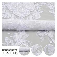 Oem designer macio decorativo branco cording allover bordado design