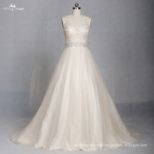 LZ174 Alibaba Scoop A line Frocks Designs Champagne Crystal Bead Vestido De Noiva