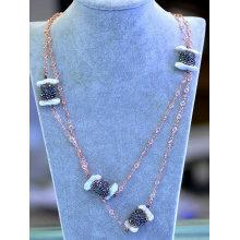Fashion Gz Hemitite Crystal Pearl Necklace Chain Jewelry
