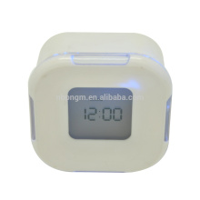 4 in1 function square 4 side alarm clock