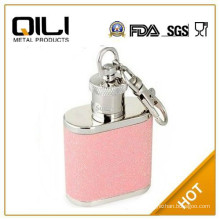 high quality mini stainless steel glitter hip flask with key ring