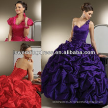 HQ2007 Sparkly beaded dark purple detachable jacket beads bubble hem ruched taffeta ball gown one shoulder quinceanera dresses