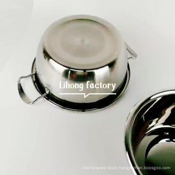 Chinese mirror finished stainless steel cookware soup pot with double handle