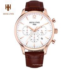 Luxury Men Sapphire Material Genuine Leather Strap Waterproof Date Chronograph Quartz Wrist Watch Relogio Masculine