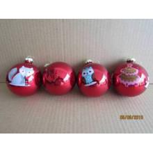 Красная картина стеклянный шар с Animal Decal Картина для Рождества
