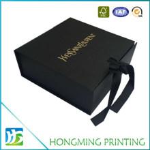 Gold Logo Black Silk Ribbon Foldable Box for Jewelry