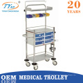 equipo de hospital carro de carro de medicina con ruedas