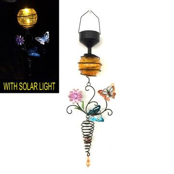 Metal Butterfly W. Glass Ball Solar Light Garden Craft