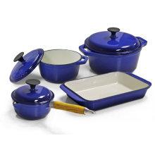 Blue Enamel Cast Iron Cookware Set