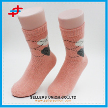 Angora wool new style coffee with cream-colored knitting casual warm socks for young
