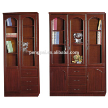 regular antique wooden bookcase with photos
