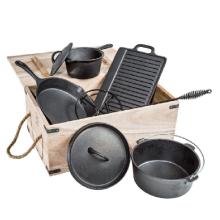 6 Stück Gusseisen Kochgeschirr Set in Holzkiste
