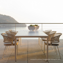 New arrive modern style table and rope chairs outdoor garden webbing dining set