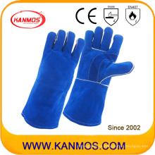 Cuero de vaca azul Split cuero de seguridad industrial guantes de trabajo de soldadura (11114)