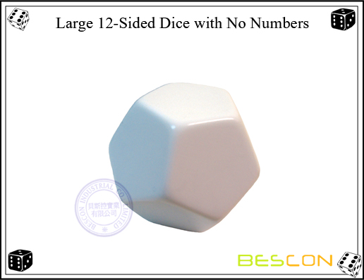 Large 12-Sided Dice with No Numbers