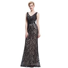 Starzz 2016 Sleeveless V-Neck Black Long Sequined Ball Gown Prom Dress ST000034-1