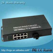 Convertisseur optique de fibre de télévision rapide 1000Mbps 1 fibre avec le convertisseur de réseau d'Ethernet de 8 ports pour des caméras d'IP
