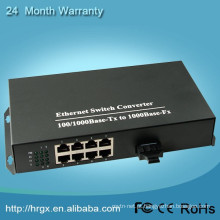 Fast Television Fiber Optic Converter 1000Mbps 1 Fiber with 8 Port Ethernet Network Converter For IP Cameras
