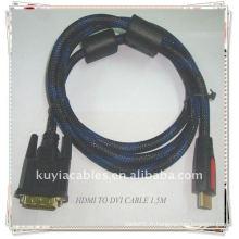 Câble HDMI à DVI plaqué or d'excellente qualité avec une veste en nylon 2 Ferrit 1.5m noir