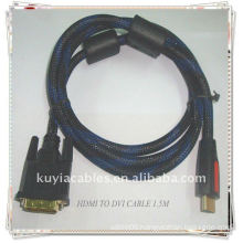 High Quality Gold Plated HDMI to DVI cable with nylon mesh jacket 2 Ferrit 1.5m black