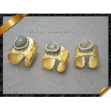 Nature Druzy Geode Кварц Кристалл Кольцо драгоценных камней, Золотой тон Лабрадорит пальца Камень кольцо в смешанных цветах ювелирных изделий (FR014)