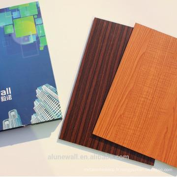 3mm / 4mm / 5mm panneau en bois composite d'aluminium grainé bois revêtement intérieur en bois ACP