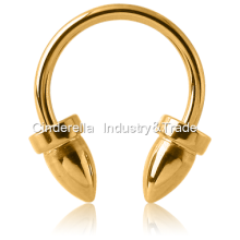 Gold PVD Coated Circular Barbell with Bullets