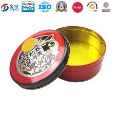 Embossing Round Shaped Metal Cookie Jar for Food Packaging