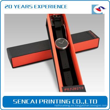 Caja de reloj de cartón hecha a mano de lujo hecha a mano del logotipo con la tapa