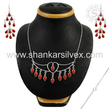 La joyería agraciada de la plata de la piedra preciosa del coral rojo fijó 925 joyería al por mayor