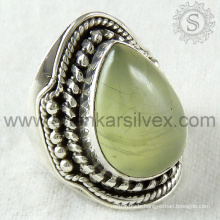 Exaggerated handmade prehnite silver ring jewelry 925 sterling silver gemstone jewellery wholesaler