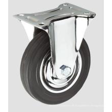 Schwarzes Gummi-Industrie-Rollen-flaches Festlegungs-Rad ohne Bremse