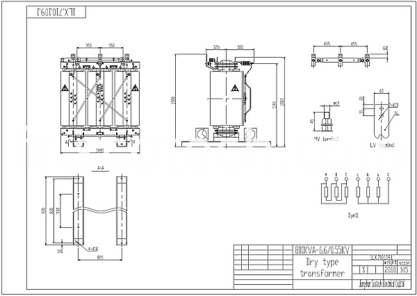 800kva dry type transformer drawing