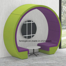Fabric Type Moon Sofa/Office Meeting Booth with Round Shape Top