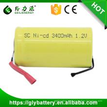 Batería recargable al por mayor de NICD SC 3400mAh 1.2V con las lengüetas