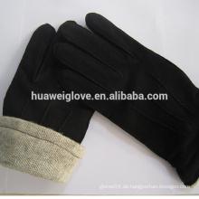 Casual Style Herren schwarze Schaffell Wildleder Lederhandschuhe