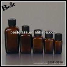 Bouteille d'huile essentielle carrée avec bouchon en plastique noir Bouteille d'huile essentielle carrée en brun Bouteille d'huile essentielle carrée