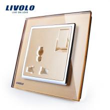 Livolo Fabricant Commutateur à bouton-poussoir 1 voie 1 voie 3 broches prise 13A multifonction VL-W2Z1C-13